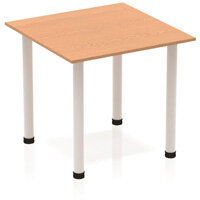 Modular Square Table Oak with Silver Tubular Steel Frame W800xD800mm
