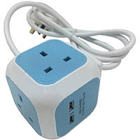 Cube Extension Lead with 4 Sockets and 2 x USB Slots