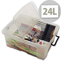 Strata Smart Storage Box Clip on Lid 24 Litres Clear