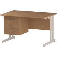 Rectangular Double Cantilever White Leg Office Desk With Fixed 3 Drawer Pedestal Oak W1200xD800mm