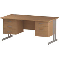 Rectangular Double Cantilever Silver Leg Office Desk With 2 Fixed Pedestals 3/2 Drawer Oak W1600xD800mm