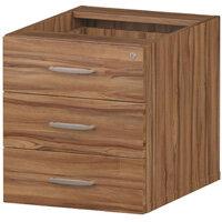 3 Drawer Fixed Desk Pedestal Walnut
