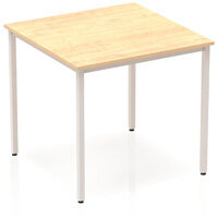 Modular Square Table Maple with Silver Box Frame W800xD800mm