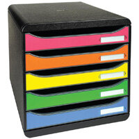 Black & Assorted Desktop Filing Drawers