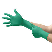 Ansell TouchNTuff Size 9 Disposable Powdered Nitrile Work Gloves Green Pack of 100