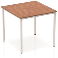 Modular Square Table Walnut with Silver Box Frame W800xD800mm