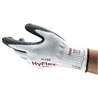 Ansell HyFlex 10 Gauge, Size 9 Cut-Resistant Palm Coated Medium-Duty Work Gloves Grey/White