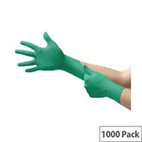 Ansell TouchNTuff 92-500 Size 8 M Durable Disposable Powdered Nitrile Gloves Green Pack of 1000 Ref AN92-500M