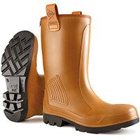 Dunlop Purofort Rigair Safety Rigger Boots Fur Lined Size 10 Tan Ref C462743.FL10