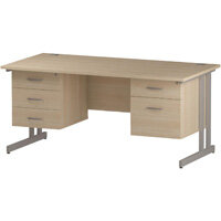 Rectangular Double Cantilever Silver Leg Office Desk With 2 Fixed Pedestals 3/2 Drawer Maple D1600xW800mm