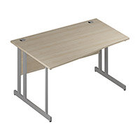 Wave Double Cantilever Silver Leg Left Hand Office Desk Maple W1400mm
