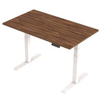 1400x800mm Height Adjustable Rectangular Sit-Stand Desk Walnut with White Frame