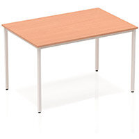 Modular Rectangular Table Beech with Silver Box Frame W1200xD800mm