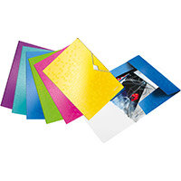 Leitz WOW 3 Flap Folder PP Elastic Straps A4 Assorted Ref 45990099 Pack of 20
