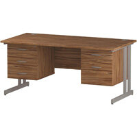 Rectangular Double Cantilever Silver Leg Office Desk With 2 Fixed Pedestals 3/2 Drawer Walnut W1600xD800mm