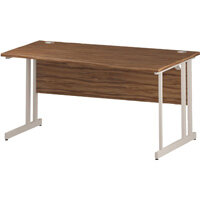 Wave Double Cantilever White Leg Right Hand Office Desk Walnut W1600mm