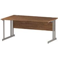 Wave Panel End Left Hand Office Desk Walnut W1600mm