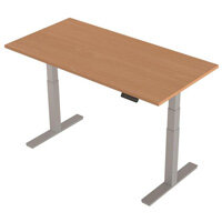 1600x800mm Height Adjustable Rectangular Sit-Stand Desk Beech with Silver Frame