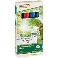 Edding e-22 EcoLine Permanent Marker Chisel Tip Assorted Ref 4-22-4 Pack of 4