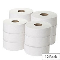Maxima Mini Jumbo Toilet Dispenser Refill Tissue Rolls 2-Ply 200m White Pack of 12