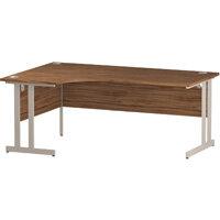 L-Shaped Corner Left Hand Double Cantilever White Leg Office Desk Walnut W1800mm