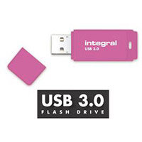 Integral Neon 128GB USB 3.0 Flash Drive Pink