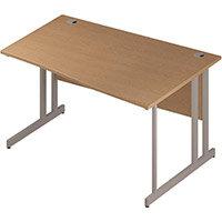 Wave Double Cantilever Silver Leg Right Hand Office Desk Oak W1400mm