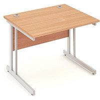 Rectangular Double Cantilever Silver Leg Office Desk Beech W1000xD800mm