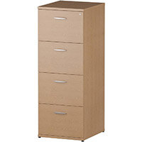 Impulse 4 Drawer Filing Cabinet WxDxH 500x600x1445mm Oak