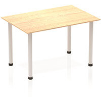 Modular Rectangular Table Maple with Silver Tubular Steel Frame W1200xD800mm