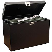 File Box with 5 Suspension Files and 2 Keys Steel A4 Black