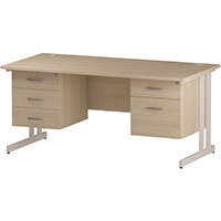 Rectangular Double Cantilever White Leg Office Desk With 2 Fixed Pedestals 3/2 Drawer Maple D1600xW800mm