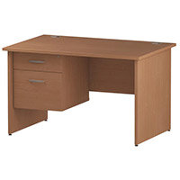 Rectangular Panel End Office Desk With Fixed 2 Drawer Pedestal Beech W1200xD800mm