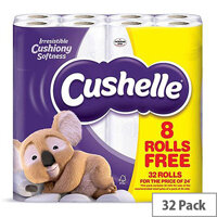 Cushelle White Toilet Paper Tissue Rolls 2 Ply 180 Sheets Per Roll Pack of 32 Rolls