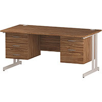 Rectangular Double Cantilever White Leg Office Desk With 2 Fixed Pedestals 3/2 Drawer Walnut W1600xD800mm