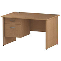 Rectangular Panel End Office Desk With Fixed 2 Drawer Pedestal Oak W1200xD800mm