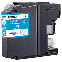Brother LC22UC XL Yield: 1,200 Pages Genuine Ink Cartridge Cyan Ref LC22UC