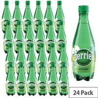 Perrier 500ml Green Apple Flavoured Sparkling Mineral Water Pack of 24