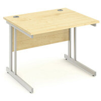 Rectangular Double Cantilever Silver Leg Office Desk Maple W1000xD800mm