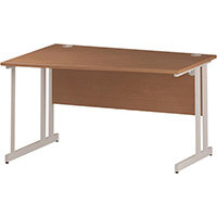 Wave Double Cantilever White Leg Left Hand Office Desk Beech W1400mm