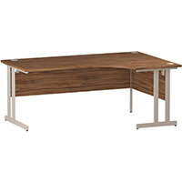 L-Shaped Corner Right Hand Double Cantilever White Leg Office Desk Walnut W1800mm