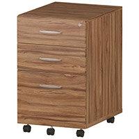 Tall 3 Drawer Under Desk Mobile Pedestal Walnut