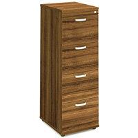 Impulse 4 Drawer Filing Cabinet WxDxH 500x600x1445mm Walnut