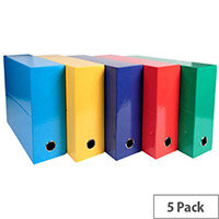 Iderama A4 90mm Spine Transfer File Assorted Colours Pack of 5