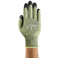 Ansell ActivArmr 13 Gauge, Size 7 Heat/Cut Resistant Medium-Duty Work Gloves Black/Green