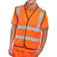 B-Seen High Visibility Waistcoat Full App Vest Size L Orange Ref WCENGORL