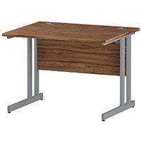 Rectangular Double Cantilever Silver Leg Office Desk Walnut W1000xD800mm