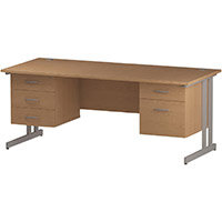 Rectangular Double Cantilever Silver Leg Office Desk With 2 Fixed Pedestals 3/2 Drawer Oak W1800xD800mm
