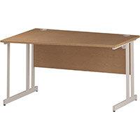 Wave Double Cantilever White Leg Left Hand Office Desk Oak W1400mm