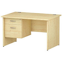 Rectangular Panel End Office Desk With Fixed 2 Drawer Pedestal Maple W1200xD800mm
